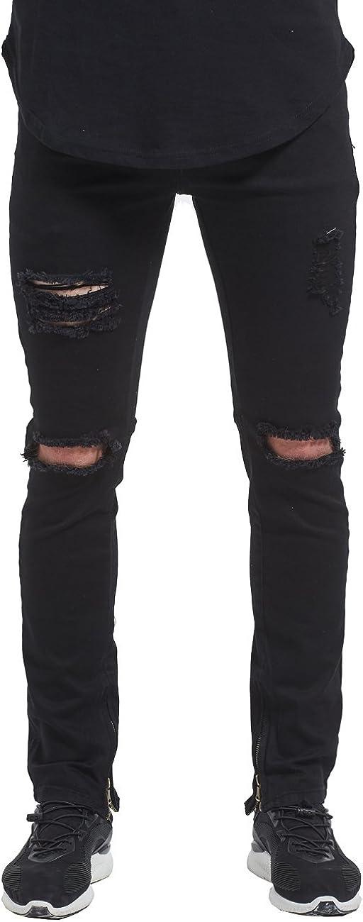 Mrpick Men's Side Ankle Zipper Skinny Stretch gift J Tulsa Mall Ripped Destroyed