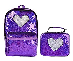 Purple/Sliver Blue Sequin Elementary Book Backpack With Lunch Bag