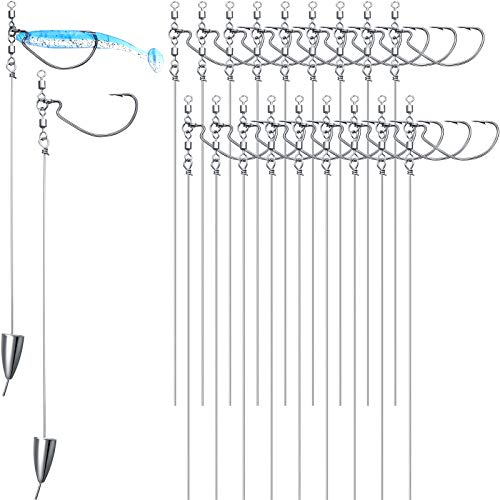 20 Pieces Punch Shot Rig Kit Crank Hooks Stem Wire Rolling Swivels Sinkers Fishing Interchangeable Hooks for Pike Bass Trout