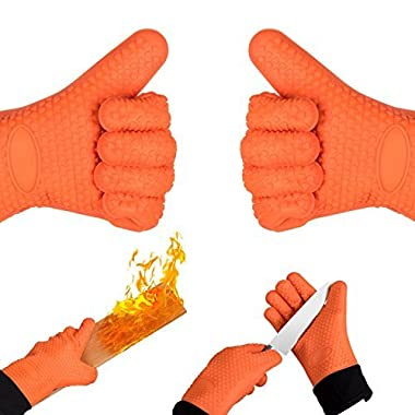 Homily Oven Mitts, Heat Resistant Gloves Wrist Protection Quilted Cotton Lining, Non-slip Kitchen Gloves for Cooking, Baking, BBQ Grilling