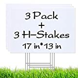 3 Pack Blank Yard Signs 13' x17' - Lawn Sign with Metal H-Frame Ground Stake - Water Resistant DIY Poster Board Signs for Rent, Garage Sales, Open Houses, and Custom Birthday[13in x 17in]