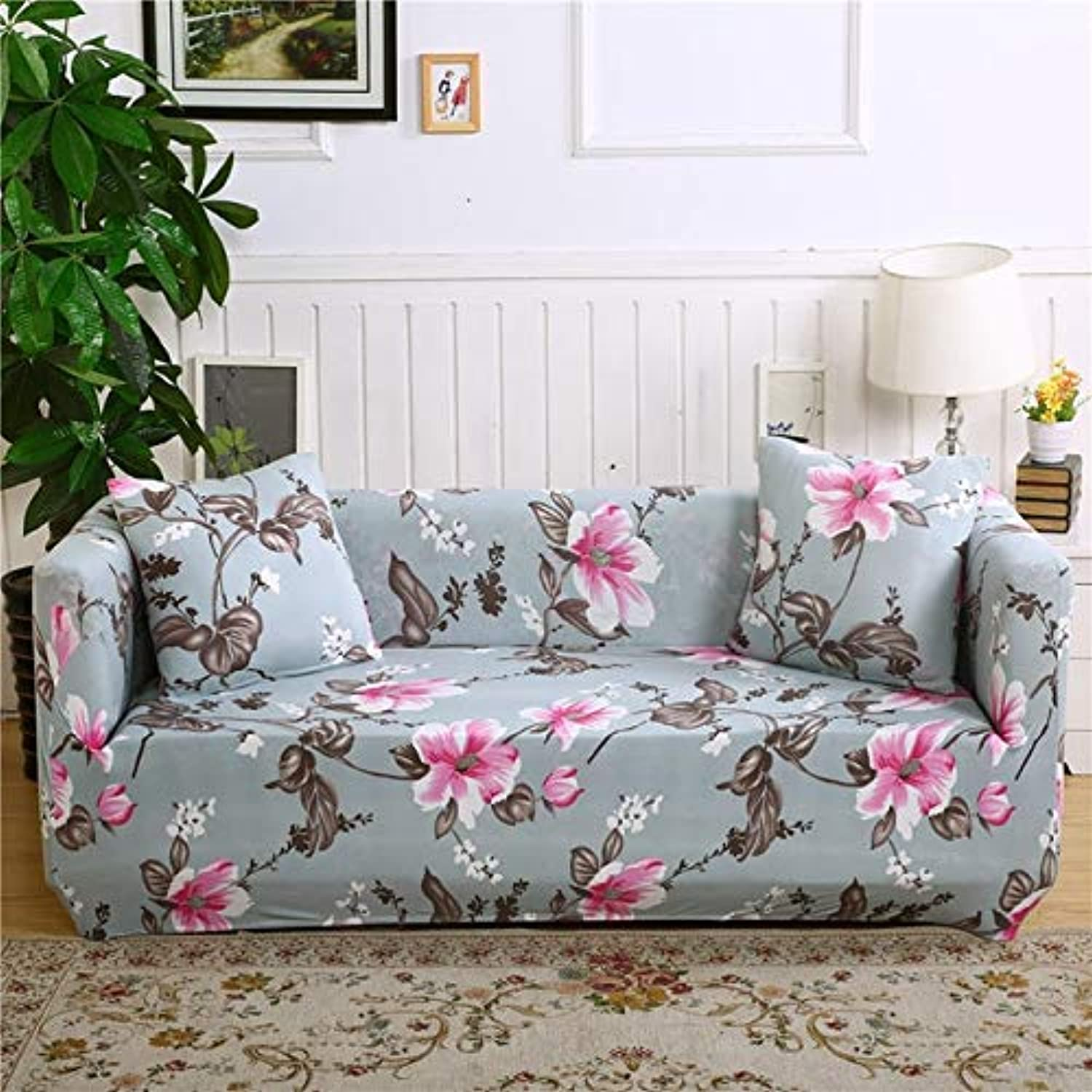 Floral Printing Stretch Elastic Sofa Cover Cotton Sofa Towel Slip-Resistant Sofa Covers for Living Room   colour17, 3-Seater 195-230cm