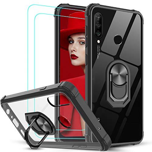 LeYi Funda Huawei P30 Lite / P30 Lite New Edition con [2-Unidades] Cristal Vidrio Templado,Transparente Carcasa con 360 Grados iman Soporte Silicona Bumper Armor Case para Movil P30 Lite,Clear Negro