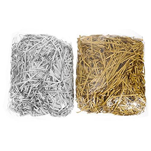 Kisangel 2 Piezas de Papel Cortado Arrugado Triturado de Papel Triturado para Caja de Regalo Confeti para Embalaje de Suministros (Plata Dorada)