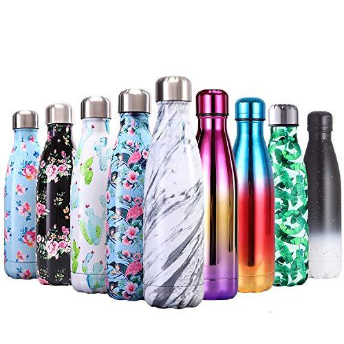 QXuan Isolierte Wasserflasche Edelstahl Vakuum-Flasche, 500 ml doppelwandige Thermo-Trinkflasche, hält heiße und kalte Getränke für Outdoor-Sport, Radfahren und Reisen, Marmorweiß