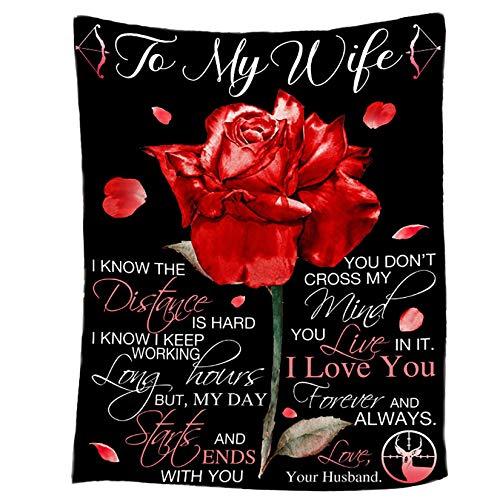 LGZY Mantas Sofás Franela para Mi Esposa Desde Marido Carta Mensaje Bendición Regalo Muy Ideal, para mi Esposa,130x150cm