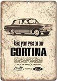 Laurbri Ford Cortina English Line - Cartel de Chapa de Metal, Cartel de Advertencia, Chapa de Hierro, Pintura, Dormitorio, Escuela, Pared, Aluminio, decoración Bar Café
