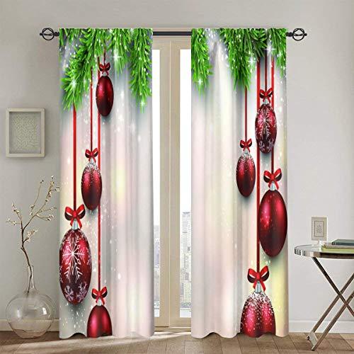 DIYAB Cortinas, ilustración navideña con Ramas de Abeto y Bolas Rojas, Cortinas de la Ventana de la Sala de...
