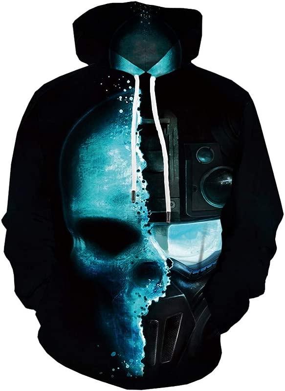 TANLANG Men Casual Halloween Scary Taro 3D Print Weird Gimmick Hooded Long Sleeve Sweater Jacket Pullover Outwear