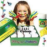 Happlee Fingerfarben Kinder Ungiftig 12 Farben Waschbar Fingermalfarben Kleinkind Finger Paint Set, Fingermalfarben für Kinder DIY, geeignet zum Malen in Kindergarten, Schule, Therapie und zu Hause
