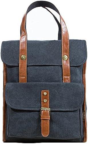 DoubleMay Unisex Damen Herren Vintage Retro Canvas Rucksack Handtasche Backpack Business Bag Daypacks Cityrucksack ideal für Studium Büro Sport Freizeit Outdoor 29 x 10 x 35cm (Dunkel Grau)