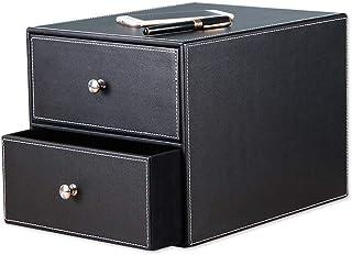 درج JUAN 2 درج جلد صديق للبيئة وحدة مكتب ورقة فارز خزانة تخزين منظم (أسود، لون القهوة) أثاث مكتب المنزل