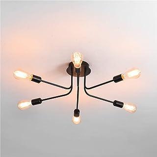 Ganeed Modern Sputnik Chandelier Lighting, 6 Lights Semi Flush Mount Ceiling Light Fixture, Industrial Style Metal Ceiling...
