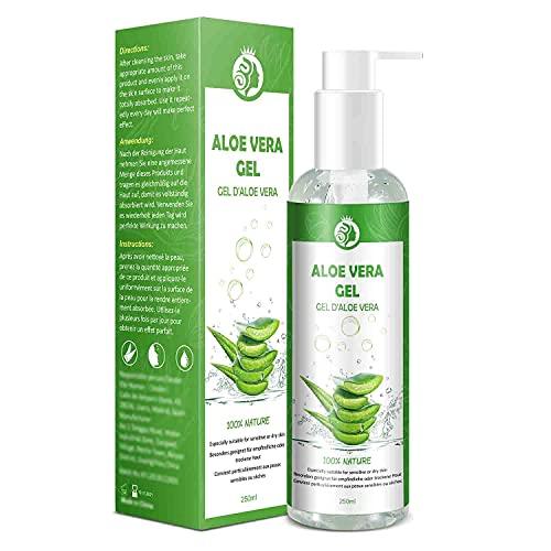 Gel de Aloe Vera 100% Puro,250 ML Aloe Vera Crema Natural,Gel Hidratante para Cara,Cabello y Cuerpo,Ideal para el Acné,Pieles Secas y Quemadas Solares,Calmante,Nutritiva y Antisensible| con Bomba…