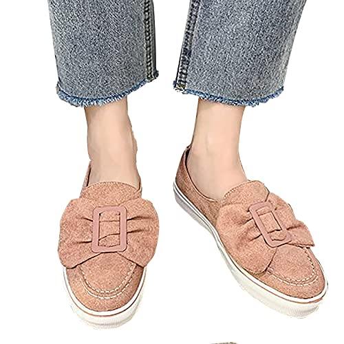 Shhyy Zapatillas Deporte Sin Cordones para Mujer, Lona De Moda, Zapatillas Ligeras para Correr para Mujer, Zapatos para Caminar con Plataforma Y Comodidad Informales,Rosado,11