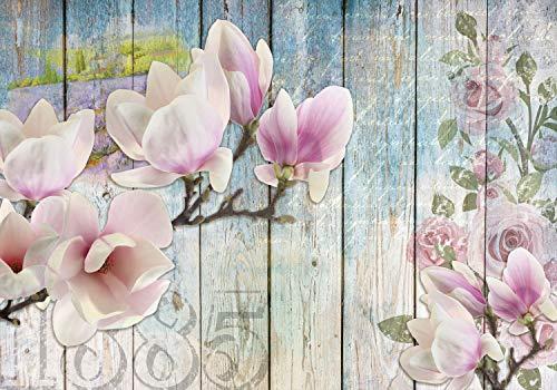 decomonkey Fototapete Blumen Holz 400x280 cm XL Tapete Fototapeten Vlies Tapeten Vliestapete Wandtapete moderne Wandbild Wand Schlafzimmer Wohnzimmer Holzwand Magnolien Natur