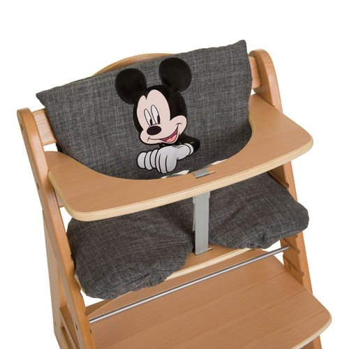 Hauck Disney Alpha Highchair Pad Deluxe, Seat Cushion for Wooden Highchair Hauck Alpha+, Easy Fixing and Cleaning, Mickey Grey