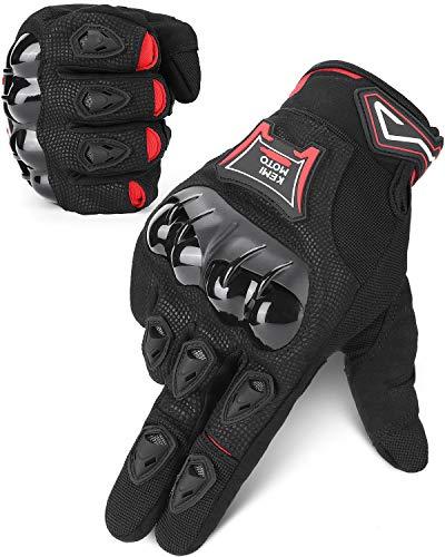 ISSYZONE Motorrad Handschuhe, Sommer Sport Handschuhe mit Touchscreen, Hartem Knöchelschutz, Atmungsaktive Vollfingerhandschuhe für Motorrad Radfahren Camping Outdoor-Aktivität, Sportarten (XXL)