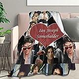 Ultra Soft Flannel Fleece Blanket Ian Jos -eph Somerhalder Stylish Bedroom Living Room Sofa Warm Blanket 50'X40' Small for Kids