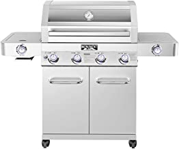 Monument Grills 35633 Stainless Steel 4-Burner Stainless Propane Gas Grill with Clearview Lid, LED Controls, and Side & Si...