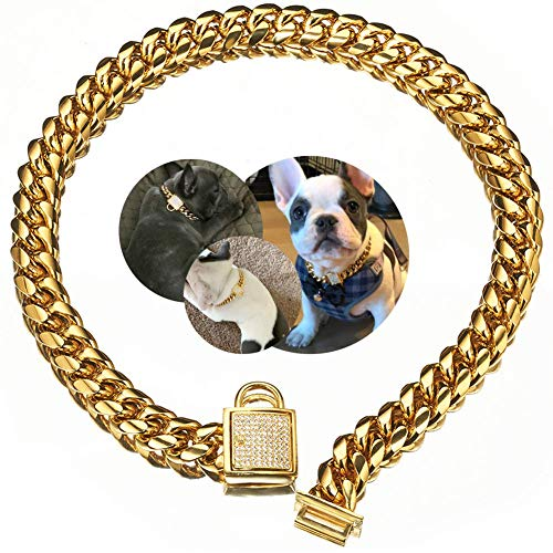 18K Gold Dog Collar XS Small Metal Stainless Steel 14mm Luxury Training Collar Cuban Link with Zirconia Lock Necklace Chain Locking Chew Proof Collar(10 inch)