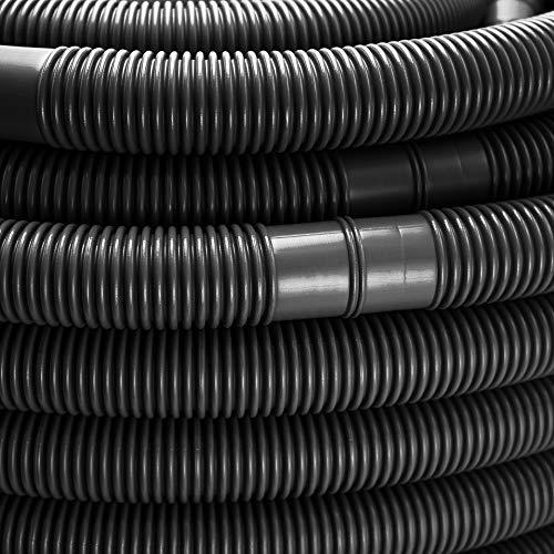 Schwimmbadschlauch Ø 32mm Saugschlauch Poolschlauch Solarschlauch Pumpenschlauch mit Muffen Made in Germany (9 m, Schwarz)