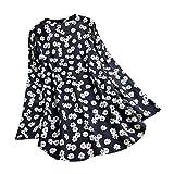 VEMOW Camisola Tops Mujer Vintage Jacquard Tres Cuartos de Encaje con Cuello en V Talla Grande Blusas Superior(W6 Negro,XXL)