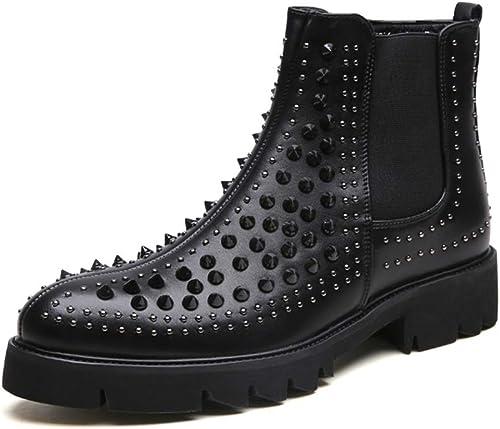 YAJIE-bottes, Cheville Bottillon décontracté personnalité des Hommes de la Mode Couture Couture Fermeture à glissière Botte Haute (Couleur   Noir, Taille   43 EU)