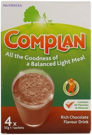 Complan Rich Chocolate Flavour Drink, 4 x 55g Sachets