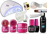 Kit Ricostruzione Unghie Gel Completo Professionale 3 Gel UV - Lampada LED 48W- 3 Liquidi - Lime - Pennello - Accessori