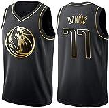 Oxyco Camiseta de Baloncesto para Hombre, Dallas Mavericks #77 Luka Doncic. Bordado, Transpirable y Resistente al Desgaste Camiseta para Fan (Golden Edition, XXL)