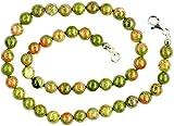 Epidot Unakit Schmuck (Halskette) Epidot Unakit Kette Kugeln Größe ca. 8 mm mit Perlseide geknotet...
