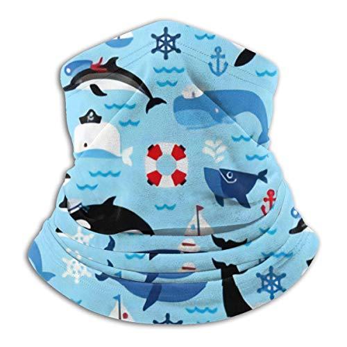 IZOU Nautical Sea Life Orca Whales Neck Gaiter Face Mask,Multifunction for Man Women seasons Magic Scarf Bandana Balaclava
