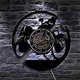 DFRTY 1 Stück Motorrad Fan Antike Schallplatte Wanduhr Motorradwerkstatt Kunst Biker Club Decor Uhr...