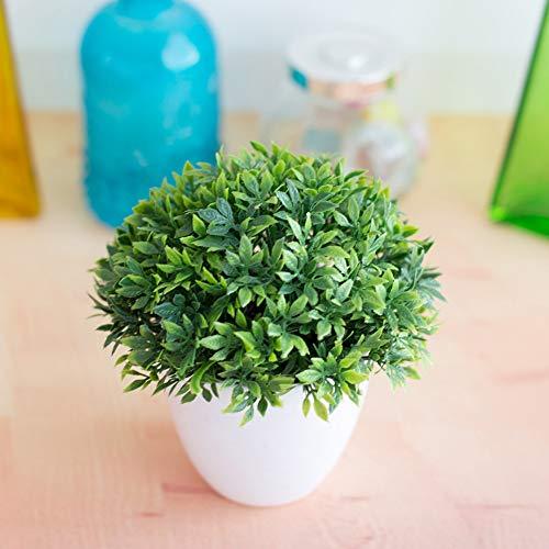 Yaosh 1Pc Simulation Pflanze Bonsai 32-Mesh Bambusgras Pflanze Dekoration Blumenball Gras Kugeltopfhauptdekoration Kleine Verzierungen