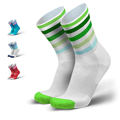 INCYLENCE Levels gepolsterte Laufsocken lang, Running Socks, atmungsaktive Sportsocken mit Anti-Blasen Schutz, Kompressionsstrümpfe, grün, 43-46