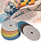 Diamant Schleifpad Set (11 teilig), Schleifscheibe zum schleifen und polieren von Naturstein, Granit, Marmor, Glas, phasenbearbeitung, Ø 100 mm