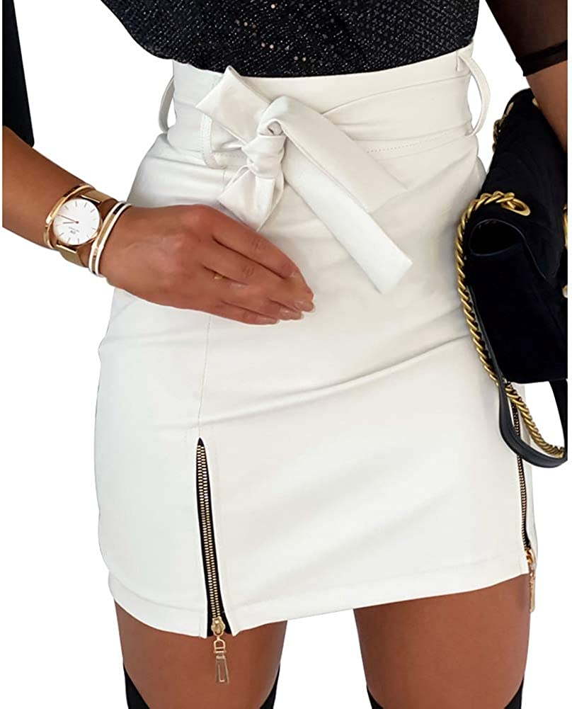 Women's Zip Up High Waist Faux Leather Bodycon Mini Pencil Skirt Sashes A-line Short Skirt Evening Party Cocktail Dress