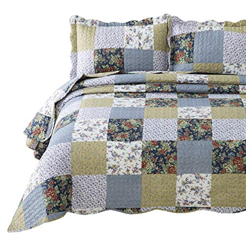 Bedsure 2-Piece Quilt Set Coverlet Twin Size (68x86 inches), Luxury Vintage Plaid Floral Patchwork, Lightweight Bedroom Bedspread for All Season, 1 Quilt and 1 Pillow Sham