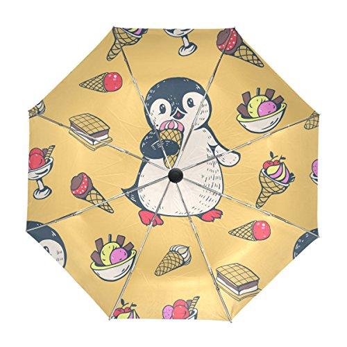 MyDaily Reise-Regenschirm, Pinguin-Eis, automatisches Öffnen und Schließen, UV-Schutz, winddicht, leicht, Regenschirm