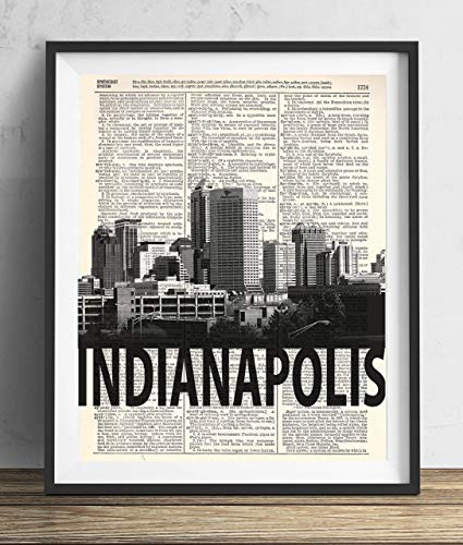 Indianapolis Skyline With Bold Name Dictionary Art Print 8x10