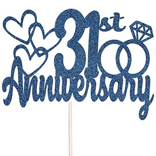 Szczęśliwej 31. rocznicy brokatowy czubek na tort - na zamówienie rekwizyty do dekoracji na przyjęcie - dostępne w wielu kolorach (granatowy)