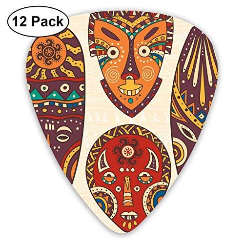 Gitaar Picks12 stks Plectrum (0.46mm-0.96mm), Masker Ontwerpen Afrikaanse Aborigine Artwork Patronen Culturele Etnische Hawaiiaanse Print,Voor Uw Gitaar of Ukulele