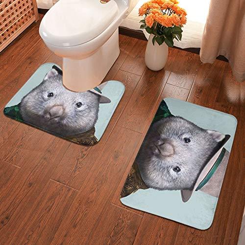 John J Littlejohn Non Slip Wombat Sir Bathroom Antiskid Pad Bathmat Waterproof Bath Carpet Floor Mat Rug 2 Pieces Pads Bath Mat + Contour