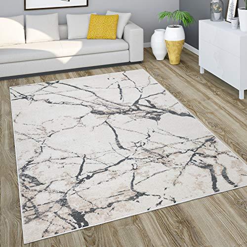 Paco Home Teppich Wohnzimmer Kurzflor Vintage Modernes Marmor Muster Steinoptik Abstrakt, Grösse:160x230 cm, Farbe:Natur 2