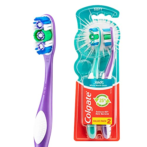 Colgate 360° Whole Mouth Clean Manual Toothbrush, Value 2 Pack, Soft Bristles, Compact Head with Teeth and Tongue Cleaner