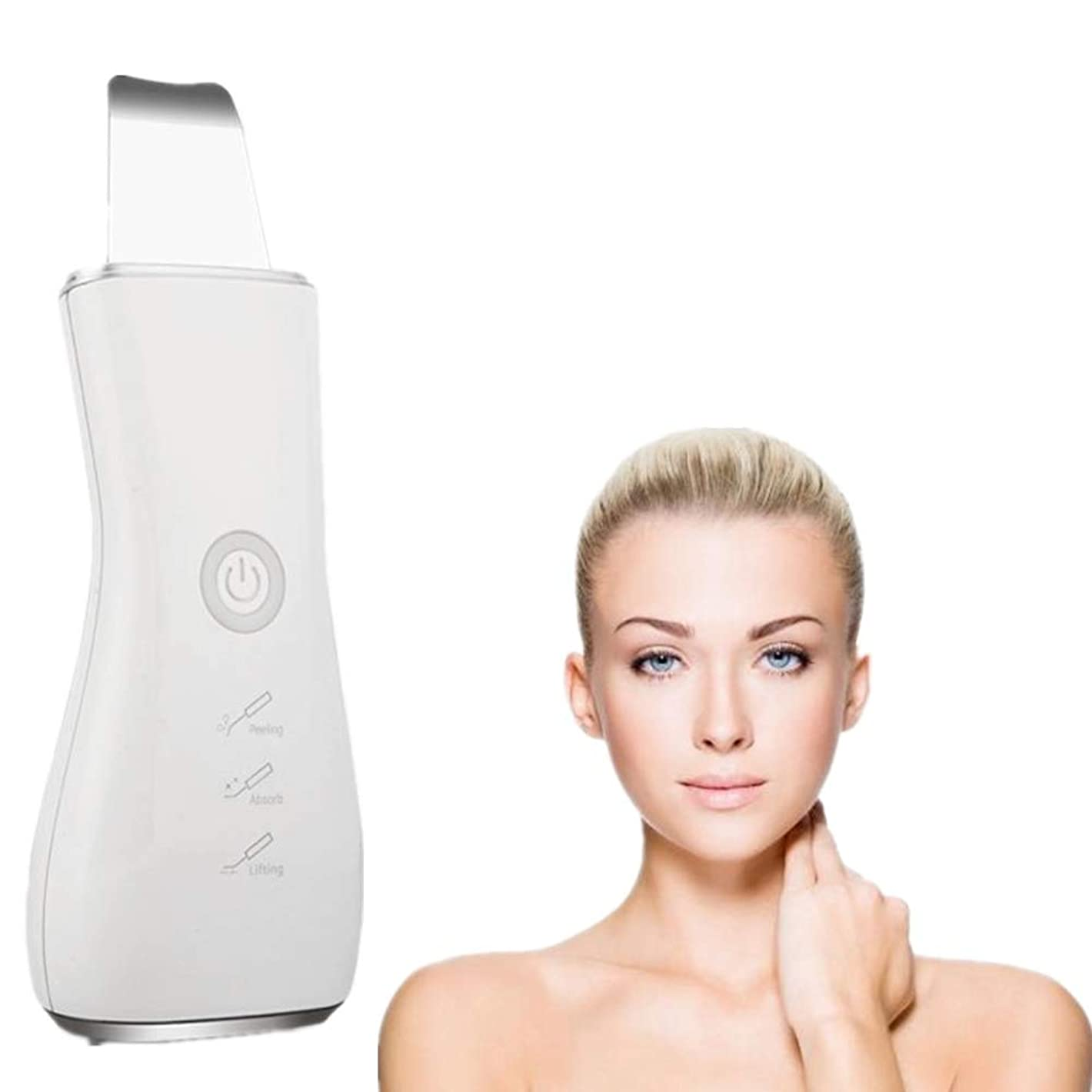 衝突コースタウポ湖抗生物質顔の皮膚スクラバーブラックヘッドリムーバー毛穴充電式スキンスクラバー光子の若返り美容スキンクリーナーEMSクリーニングイオン導入モードUSB充電式美容ツール、シルバー