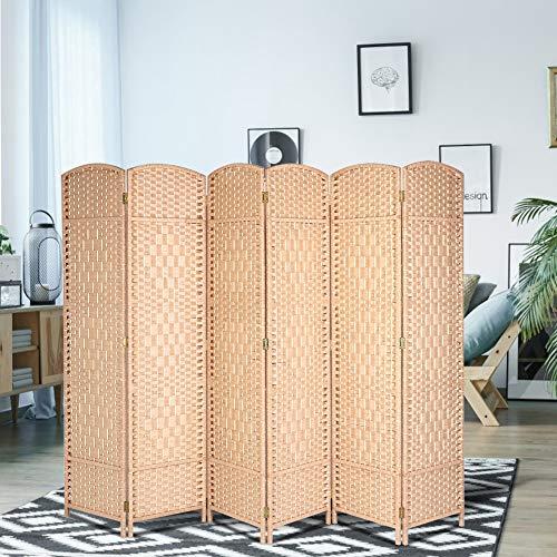 EBTOOLS Opvouwbare paravent massief houten kamerverdeler retro scheidingswand scherm inkijkbescherming met 6 panelen, vouwscherm voor thee studio, hotel, wellness-ruimte hout