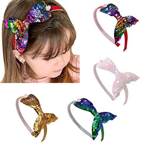 Pailletten Meerjungfrau Schwanz Haarbänder, DEHUB 4PCS Shiny Cute Pailletten Stirnband, verschiedene Farben Haarschmuck für Mädchen für das tägliche Leben, Party. (Golden, Rot, Grün, Weiß)