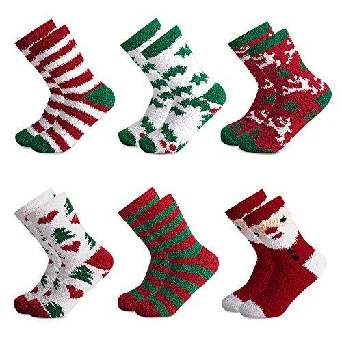 Yidarton Weihnachtssocken Weihnachtsmotiv Weihnachten Festlicher Weiche Baumwolle Winter Warm Neuheit Mix Design Socken für Damen und Mädchen (Größe 35-42) (605, 1)